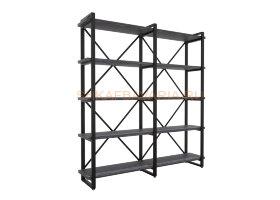 Стеллаж Командор Лофт 160х182-3 черный/графит